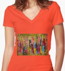 November - painting - Abstract . Women's Fitted V-Neck T-Shirt