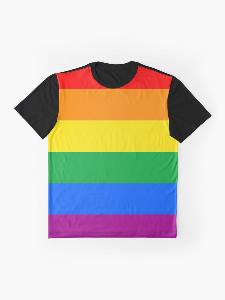 Alternate view of Gay Pride Flag Stripe Graphic T-Shirt