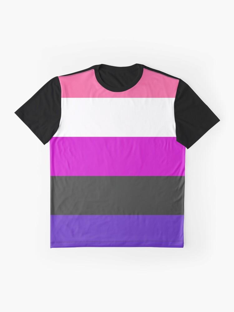 Alternate view of Genderfluid Pride Flag Stripe Graphic T-Shirt