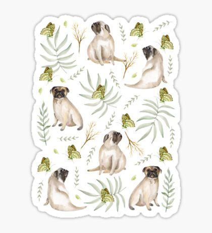 Pugs and butterflies. Brown pattern Sticker