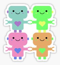 Multi-Colored Heart Robots Sticker