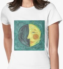OLD WANING QUARTER MOON Womens Fitted T-Shirt
