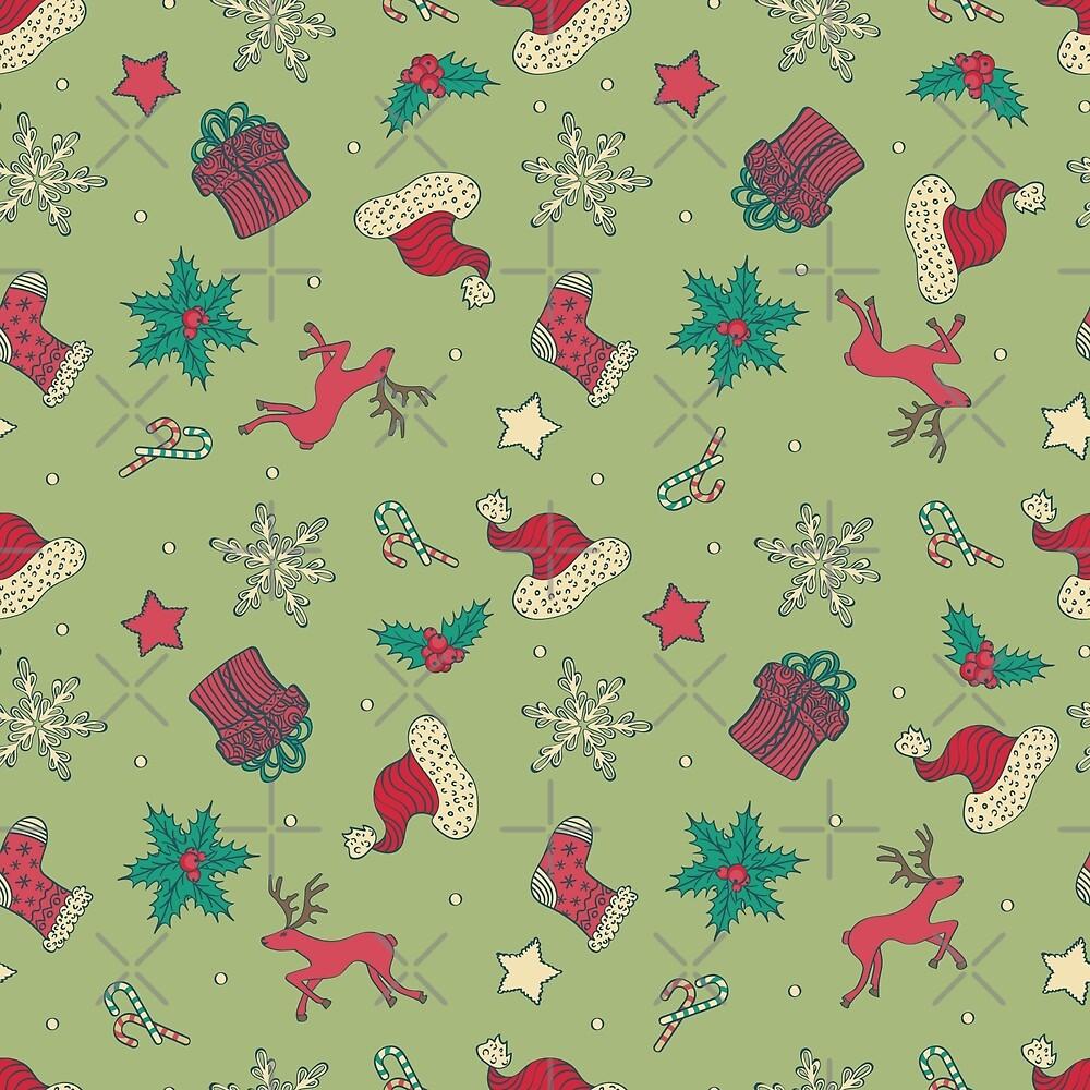 Christmas Seamless Pattern by Olga Altunina