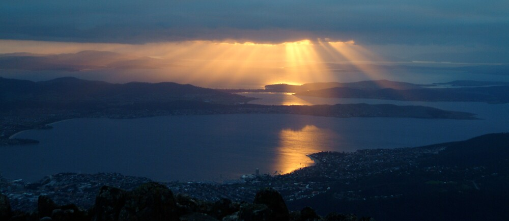 sunrise over Hobart from Mt Wellington 4000 feet hign by nick page
