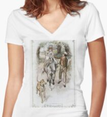 Charles Edmund Brock - Jane Austen The Riding Lesson Women's Fitted V-Neck T-Shirt