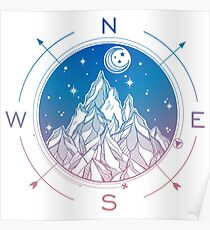 Wanderlust Tattoo of Hand Drawn Mountain Wind Compass Poster