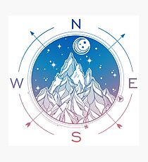 Wanderlust Tattoo of Hand Drawn Mountain Wind Compass Photographic Print