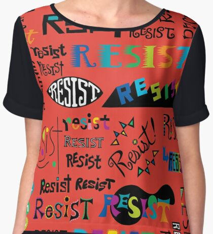 Resist Them scarlet red Women's Chiffon Top