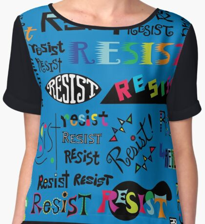 Resist Them blue Women's Chiffon Top