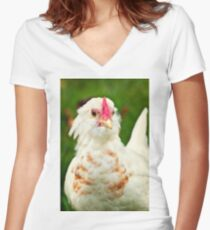 White Barbu d'Uccle bantam chicken Women's Fitted V-Neck T-Shirt