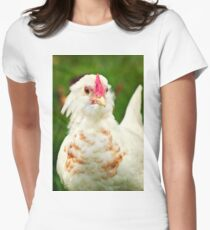 White Barbu d'Uccle bantam chicken Women's Fitted T-Shirt