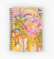 Birds and Hot Pink Flowers Spiral Notebook