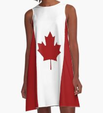 Canada: Canadian Flag (Red & White) A-Line Dress
