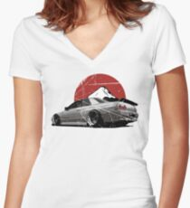 Nissan Skyline R32 Women's Fitted V-Neck T-Shirt