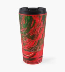 Red and Green Flowing Ribbon Design Pattern Holiday Christmas Travel Mug
