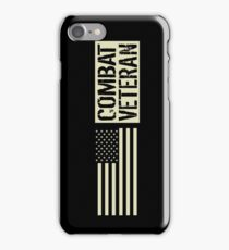 Combat Veteran: Black Military U.S. Flag iPhone Case/Skin