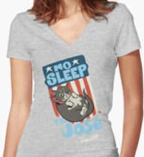 The DOLLOP- No Sleep Til José Women's Fitted V-Neck T-Shirt