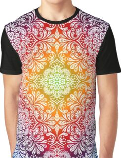 Colorful Background with Drawings Flowers Leaves Graphic T-Shirt