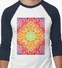 Colorful Background with Drawings Flowers Leaves Men's Baseball ¾ T-Shirt