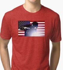 Welding: Welder & American Flag Tri-blend T-Shirt