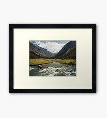 Green Valley with Cows and Horses Framed Print