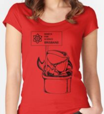 March for Science Brisbane – Shark, black Women's Fitted Scoop T-Shirt