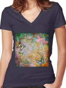 Vibrant Vintage Australian Flora and Butterflies Women's Fitted V-Neck T-Shirt