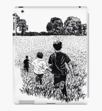 Kids Playing in Field Ink Drawing iPad Case/Skin