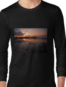Boats in an amazing dramatic sunset Long Sleeve T-Shirt