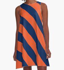 Vestido acampanado Rayas diagonales: Naranja y azul marino