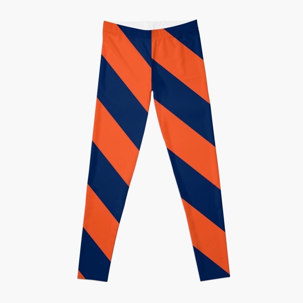 Diagonale Streifen: Orange und Marineblau Leggings