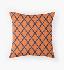 Moroccan Pattern: Navy Blue & Orange Throw Pillow