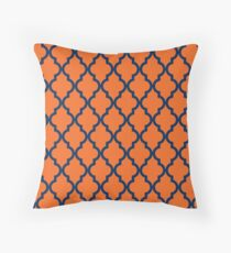 Moroccan Pattern: Navy Blue & Orange Throw Pillow