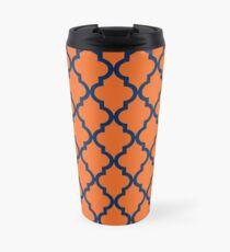 Marokkanisches Muster: Marineblau und Orange Thermobecher