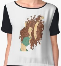 curly haired artsy Girl  Women's Chiffon Top