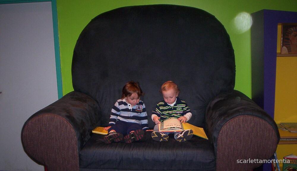 big chair, little friends by scarlettamortentia