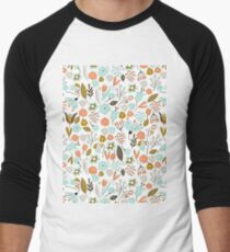 Hand Drawing Floral Pattern Men's Baseball ¾ T-Shirt