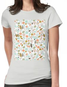 Hand Drawing Floral Pattern Womens Fitted T-Shirt