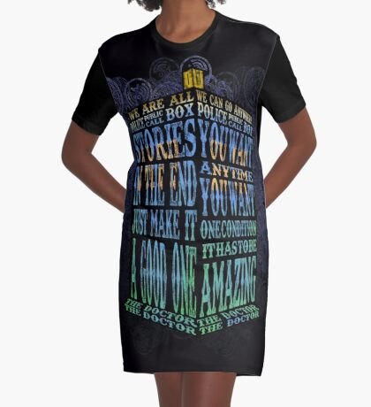 Blue Phone Booth Typography we are all stories in the end just make it a good one Graphic T-Shirt Dress