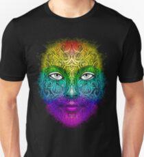 Tribal Rainbow Zen Doodle Abstract Art Color Splash Female Face Pointillism White Eyes Unisex T-Shirt