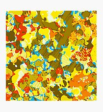 psychedelic graffiti painting abstract in yellow blue brown and red Photographic Print