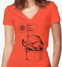 March for Science Hobart – Shark, black Women's Fitted V-Neck T-Shirt