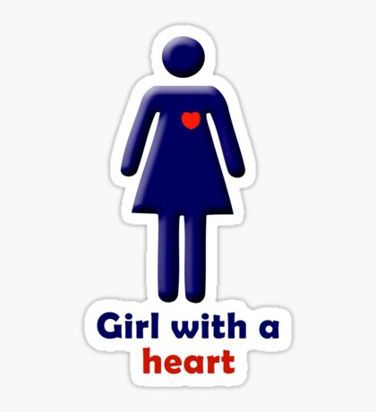 Girl with a heart Sticker