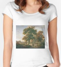 Charles Towne - Travellers At A Crossroads In A Wooded Landscape Women's Fitted Scoop T-Shirt