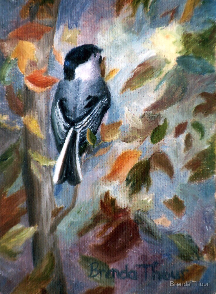 Chickadee in the Fall by Brenda Thour