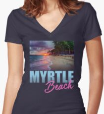 By The Shore Myrtle Beach South Carolina Women's Fitted V-Neck T-Shirt