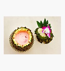 Exotic cocktail, pina colada in an open pineapple Photographic Print