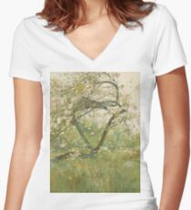 Childe Hassam - Peach Blossoms—villiers-Le-Bel Women's Fitted V-Neck T-Shirt