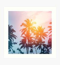 Beach sunset at the coast line Art Print
