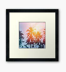 Beach sunset at the coast line Framed Print